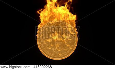 Bitcoin Cryptocurrency Burning In Fire. Burning Crypto Currency Bitcoin Symbol Illustration Isolated