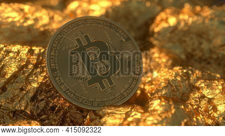 Golden Bitcoin Mining In Deep Golden Cave With Coin. Cryptocurrency Concept. Virtual Currency. Bitco