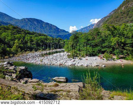 Maggia River Between Ponte Brolla And Avegno-gordevio, Ticino, Switzerland
