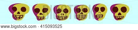 Set Of Skull Cartoon Icon Design Template With Various Models. Modern Vector Illustration Isolated O