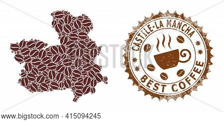 Mosaic Map Of Castile-la Mancha Province From Coffee And Textured Seal For Best Coffee