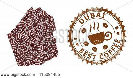 Mosaic Map Of Dubai Emirate Of Coffee Beans And Distress Mark For Best Coffee