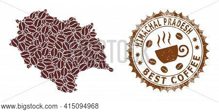 Mosaic Map Of Himachal Pradesh State With Coffee Beans And Textured Seal For Best Coffee