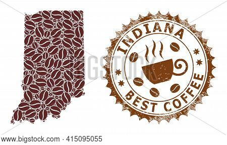 Mosaic Map Of Indiana State From Coffee Beans And Textured Seal For Best Coffee