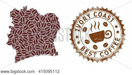 Mosaic Map Of Ivory Coast From Coffee Beans And Grunge Mark For Best Coffee