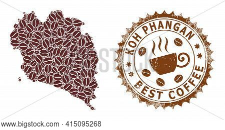 Mosaic Map Of Koh Phangan Of Coffee And Grunge Badge For Best Coffee