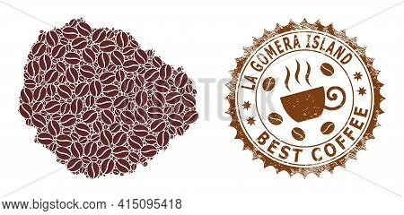 Mosaic Map Of La Gomera Island From Coffee And Grunge Badge For Best Coffee