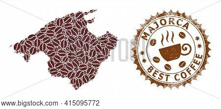 Mosaic Map Of Majorca From Coffee And Scratched Mark For Best Coffee