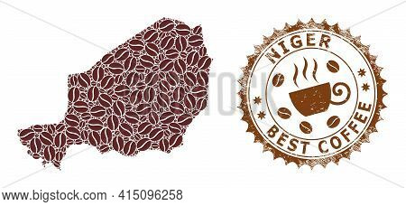 Mosaic Map Of Niger Of Coffee And Textured Seal For Best Coffee