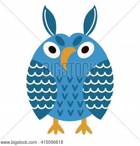 Vector Cartoon Owl In Blue. The Gloomy Bird Is Angry. The Isolated Image On A White Background. Flat