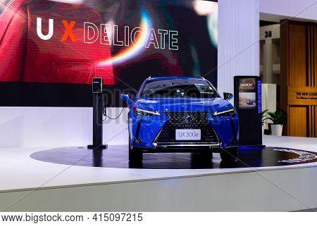 Nonthaburi, Thailand - March 25,2021 : View Of Lexus Ux300e Car On Display At Thailand International