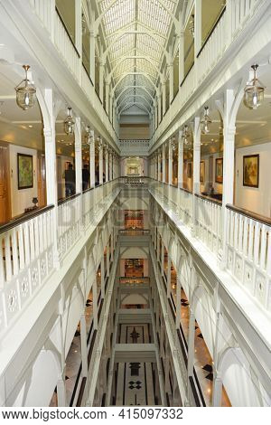 MUMBAI, INDIA - JANUARY 11, 2017: Taj Mahal Palace Hotel Corridor. The luxury hotel built in 1931 overlooks Mumbai Harbor and the Gateway of India.