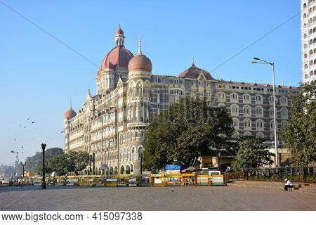 MUMBAI, INDIA - JANUARY 11, 2017: Taj Mahal Palace Hotel guest room. The luxury hotel built in 1931 overlooks Mumbai Harbor and the Gateway to India.