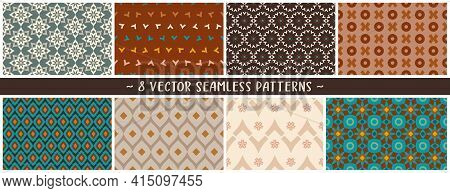 Earthy Tones Geometric Vector Patterns Set