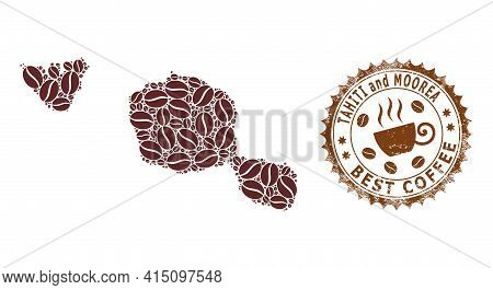 Mosaic Map Of Tahiti And Moorea Islands With Coffee And Grunge Mark For Best Coffee