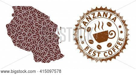 Mosaic Map Of Tanzania From Coffee Beans And Scratched Award For Best Coffee