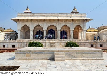 AGRA, INDIA - NOVEMBER 1, 2015:  Khass Mahal, Agra Fort. The Agra Fort is a UNESCO World Heritage site located in Agra, Uttar Pradesh, India.