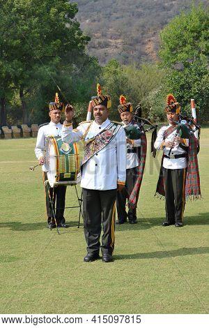 JAIPUR, INDIA - NOVEMBER 13, 2015: Band on the Green. At Dera Amer Elephant Safari a military band performs for visitors.