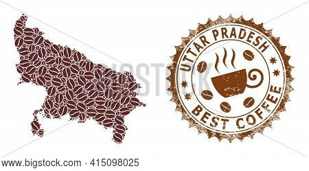 Mosaic Map Of Uttar Pradesh State With Coffee And Grunge Stamp For Best Coffee