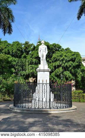 HAVANA, CUBA - JULY 24, 2016: Carlos Cespedes Statue. The monument was erected to the Cuban painter who freed his slaves and made the declaration of Cuban independence in 1868.
