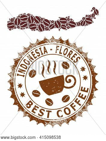 Mosaic Map Of Flores Island Of Indonesia With Coffee Beans And Distress Stamp For Best Coffee
