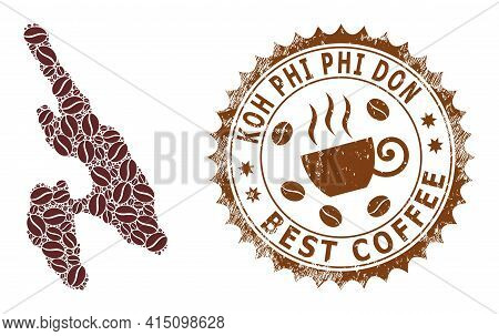 Mosaic Map Of Koh Phi Don Of Coffee And Textured Award For Best Coffee