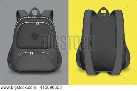 Backpack Mockup Set, Vector Isolated Illustration. Realistic Black School Bag, Rucksack With Zipper,