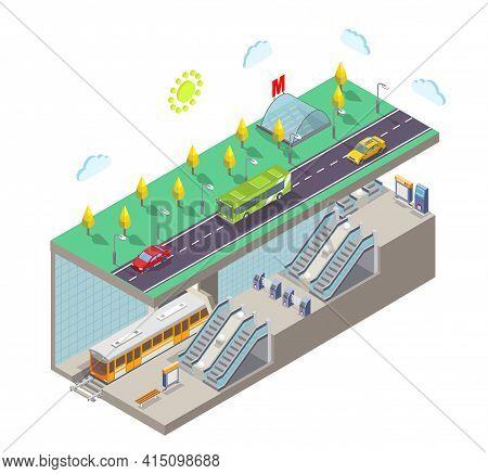Metro Station, Flat Vector Illustration. Isometric City Street Cross Section, Subway Entrance, Train