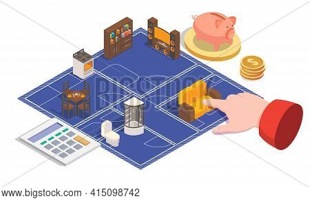House Plan And Design Vector Concept Illustration. 3d Isometric Home Floor Plan, Blueprint, Room Int