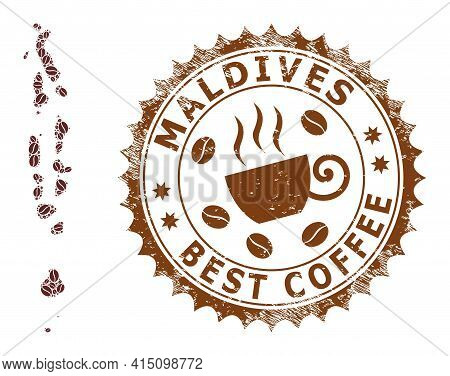 Mosaic Map Of Maldives With Coffee And Grunge Badge For Best Coffee