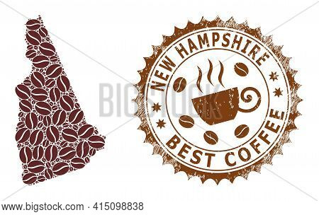 Mosaic Map Of New Hampshire State From Coffee Beans And Distress Mark For Best Coffee