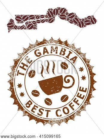 Mosaic Map Of The Gambia From Coffee And Distress Badge For Best Coffee