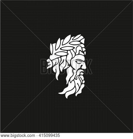 Greek God Zeus Logo. Ancient Greek God Sculpture Philosopher. Face Zeus Triton Neptune Logo Design