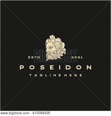 Greek God Poseidon Logo. Ancient Greek God Sculpture. Face Poseidon Triton Neptune Logo Design