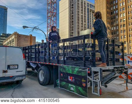 Chicago, Il March 13, 2021, Music Group Band Playing Performing On The Back Of A Flat Bed Truck For