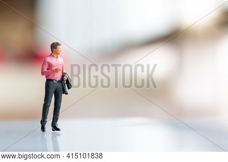 Miniature People : Businessman Standing On Empty Space