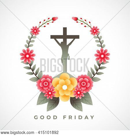 Jesus Crucifixion Cross With Flowers Good Friday Background