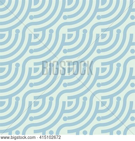 Seamless Abstract Green Wave Pattern Japanese Tradition Style. Fabric Texture Retro Decorative Wallp