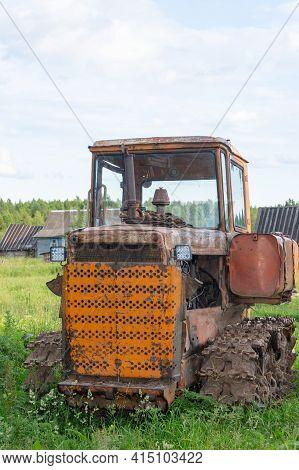Russia - July 5, 2020. Kuvshinovo, Tver Region, Russia. Old Crawler Tractor Bulldozer. Bulldozer T-1