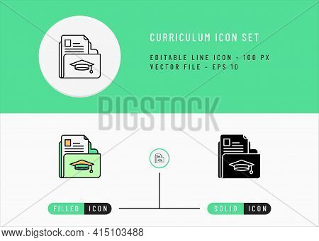 Curriculum Icons Set Editable Stroke Vector Illustration. Employment Business Symbol. Icon Line Styl