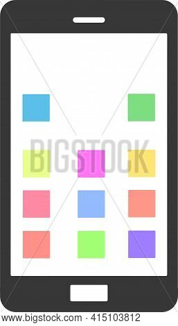 Black Smartphone With White Screen, Menu Button And Camera, Vector Eps10. Smartphone Mobile Phone Bl