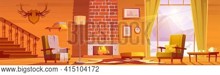 Chalet House Interior With Fireplace And Mountains Behind Window. Vector Cartoon Illustration Of Tra