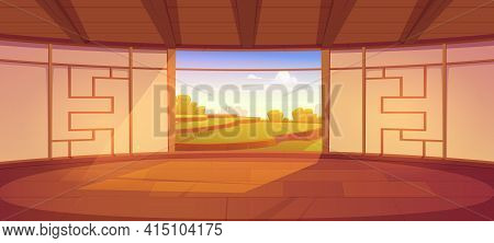 Dojo Room, Empty Japanese Style Interior For Meditation Or Martial Arts Workout With Wooden Floor An