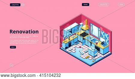 Renovation Banner. Modern Service For Repair And Improvement Interiors. Vector Landing Page With Iso