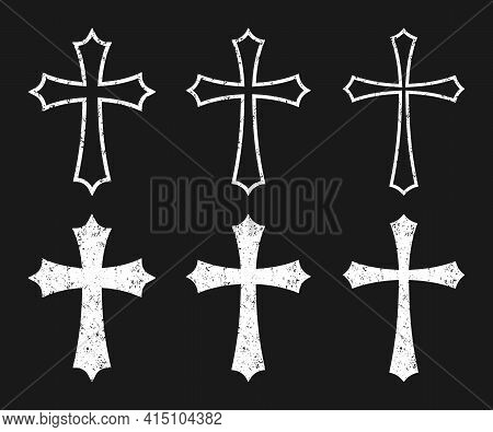 Cross Vector Shape Symbol With Grunge Texture Set. Christianity Sign Collection. Christian Religion