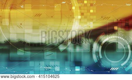 Blue orange abstract futuristic technology background