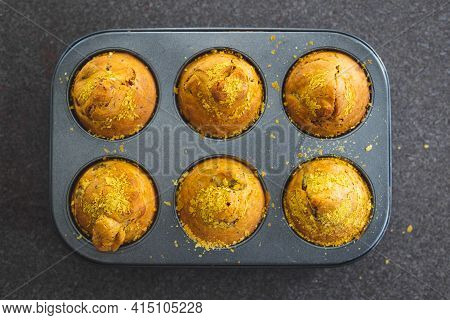 Vegan Savoury Muffins With Olives And Nutritional Yeast Just Out Of The Oven, Healthy Plant-based Fo