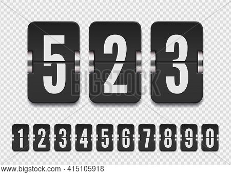 Set Of Black Flip Numbers On A Mechanical Score Board With Shadows. Vector Template For Your Design.