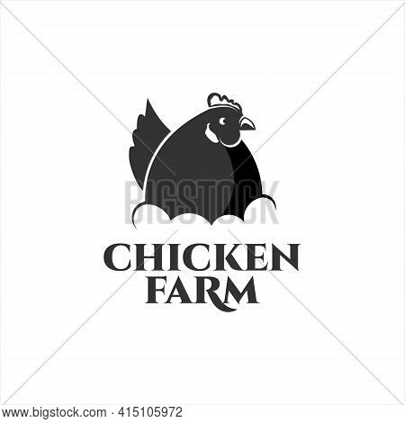 Chicken Farm Logo For Agriculture Template Illustration With Hen In Nest Vector Element