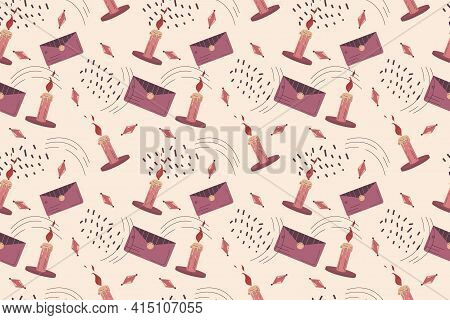 Seamless Boho Pattern In A Minimalistic Flat Linear Style. Vector Illustration Candle, Envelope And